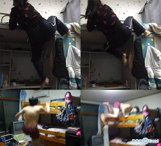 女版搞笑网友自拍宿舍上下床走红,完胜男版自拍上床动作